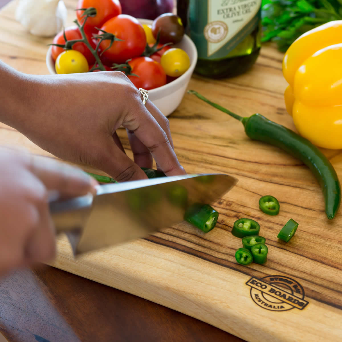 Chopping board vegetables